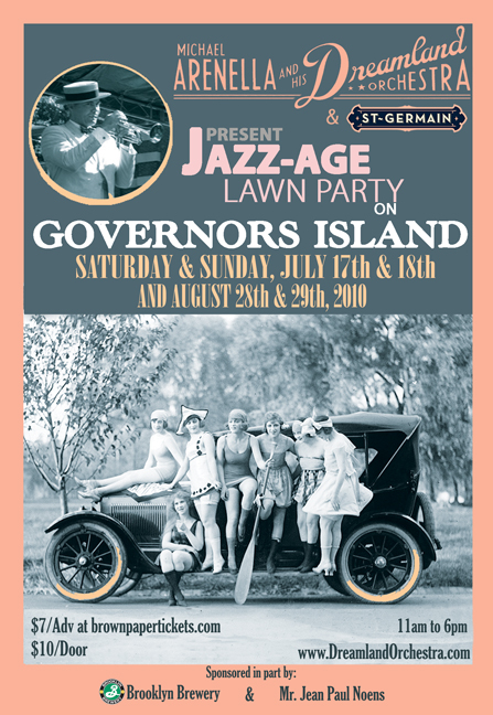 Promo Poster for Michael Arnella's Dreamland Orchestra's Jazz Age Lawn Party - July & August 2010