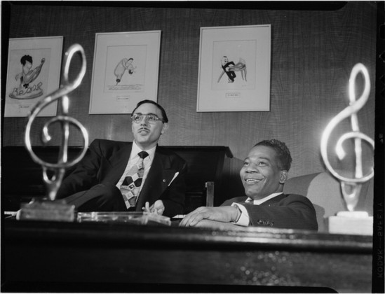 George David Weiss (L) and Bennie Benjamin (R) in their office, New York, NY, circa April 1947.