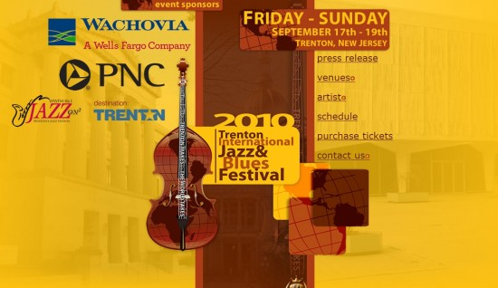 Screenshot of the 2010 Trenton International Jazz & Blues Festival Website