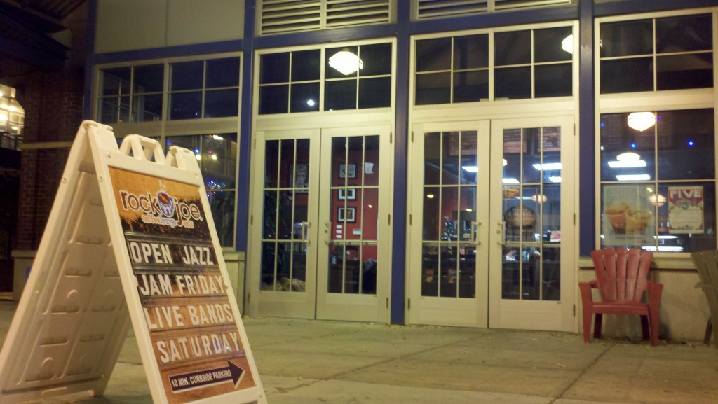 A sandwich board in front of Rockn' Joe Cafe in Union promotes their upcoming Open Jazz Jam.