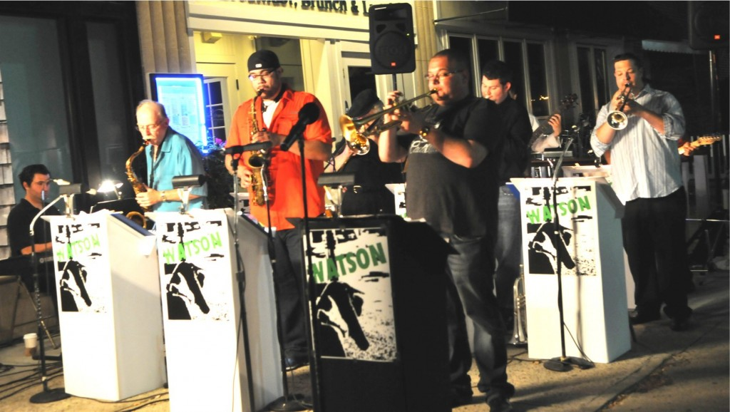 Local jazz group, Watson, performs at the Westfield train station July 2012.