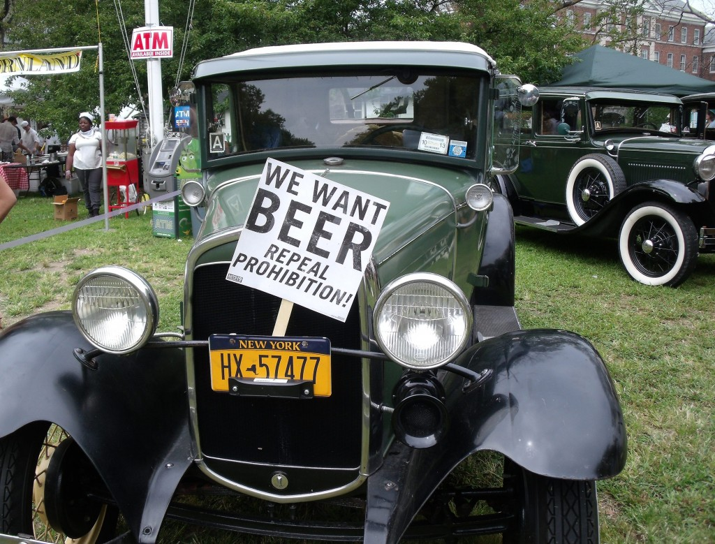 A Ford Model-T displays a sign demanding the repeal of Prohibition.